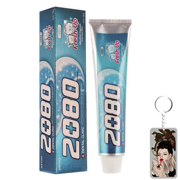 Kem đánh răng ngừa sâu răng và hôi miệng Fresh Up hương bạc hà Hàn Quốc 120g tặng kèm móc khóa