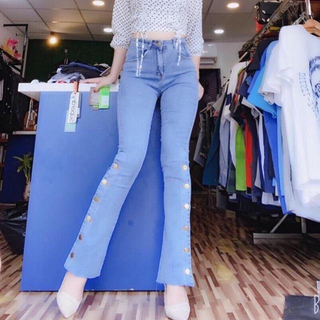 Quần Jeans Nữ, Quần Bò Nữ Ống Loe Dài Kết Nút Thời Trang