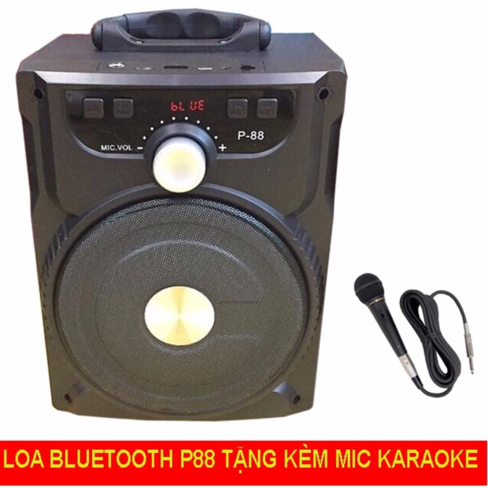 loa karaoke mini bluetooth p88 tặng mic có dây