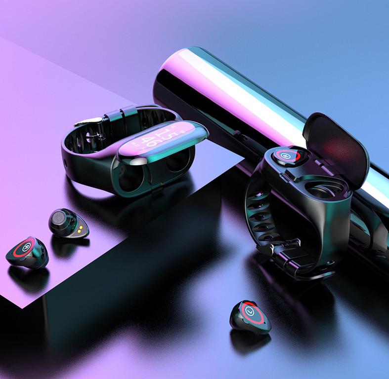 Tai nghe bluetooth kiêm đồng hồ thông minh theo dõi sức khỏe Smartwatch 2 trong 1 tiện lợi