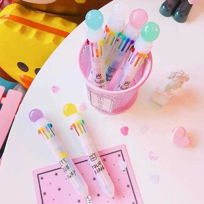 [COMBO 4 BÚT] Bút bi 10 màu mực đa năng balloon - Bút Bi Văn Phòng ( Mẫu Ngẫu Nhiên )