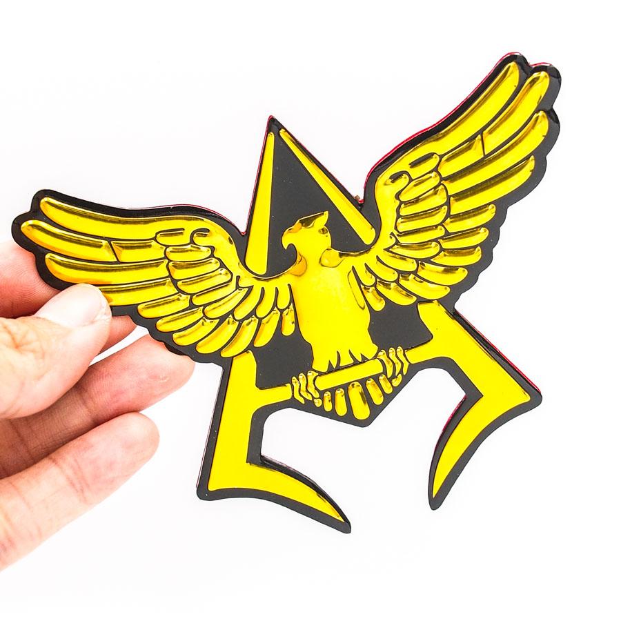 Sticker hình dán metal Chim đại bàng chữ A vàng