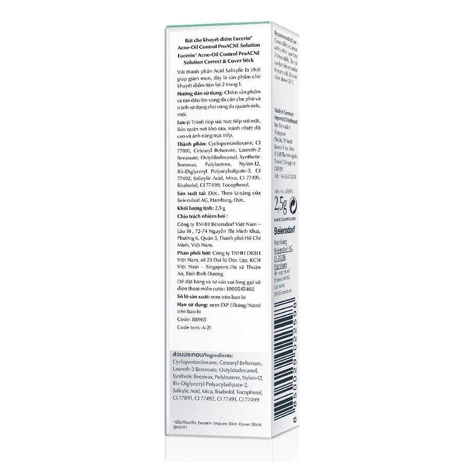 Kem Che Khuyết Điểm Giảm Mụn Và Vết Thâm Eucerin ProAcne Correct and Cover Stick (2g)