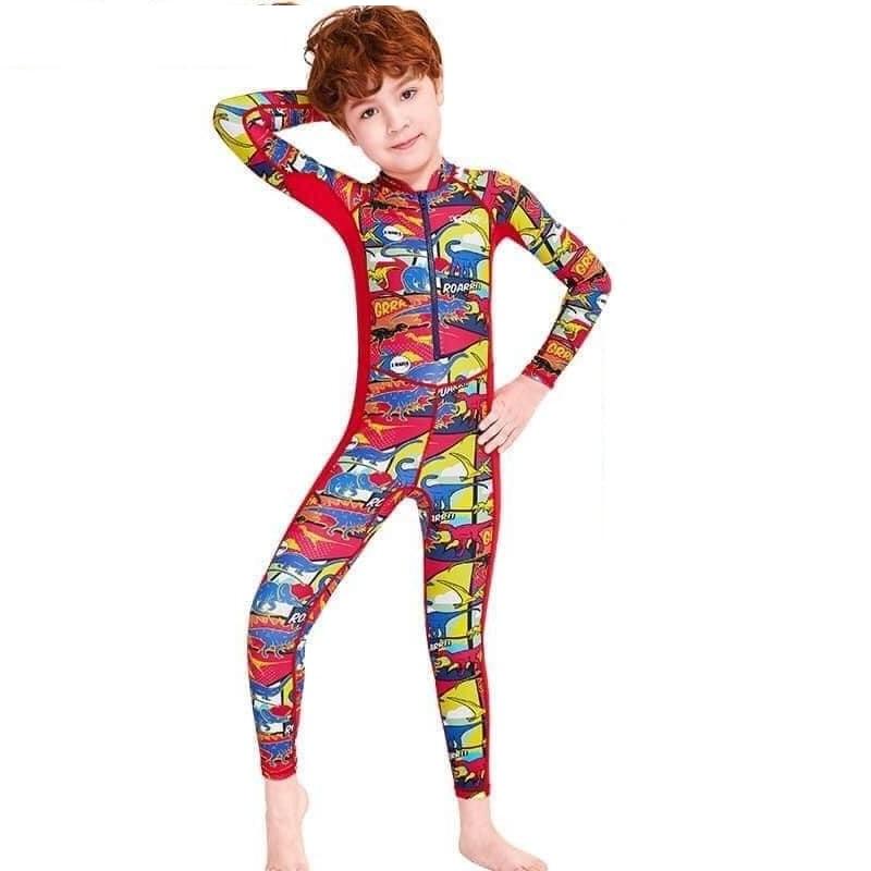 Bộ bơi liền thân tay dài chống nắng cho bé trai cao cấp màu đỏ khủng long
