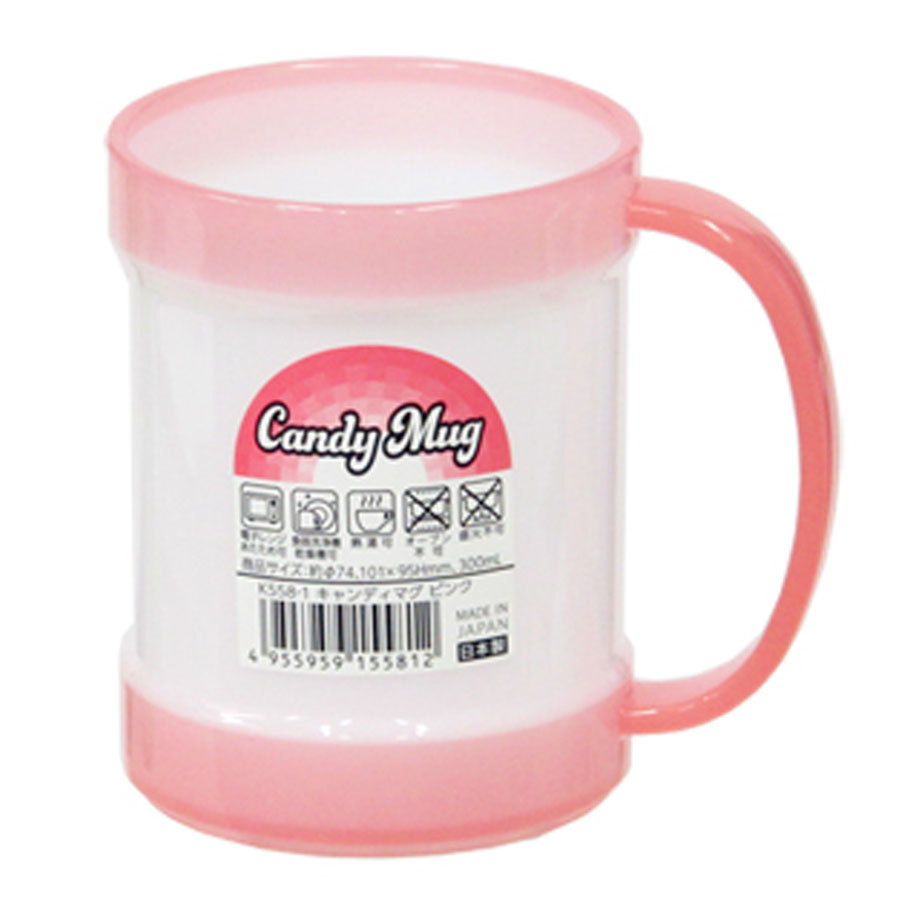 Cốc uống cỡ to có tay cầm màu hồng K558-5 300ml Nội địa Nhật Bản