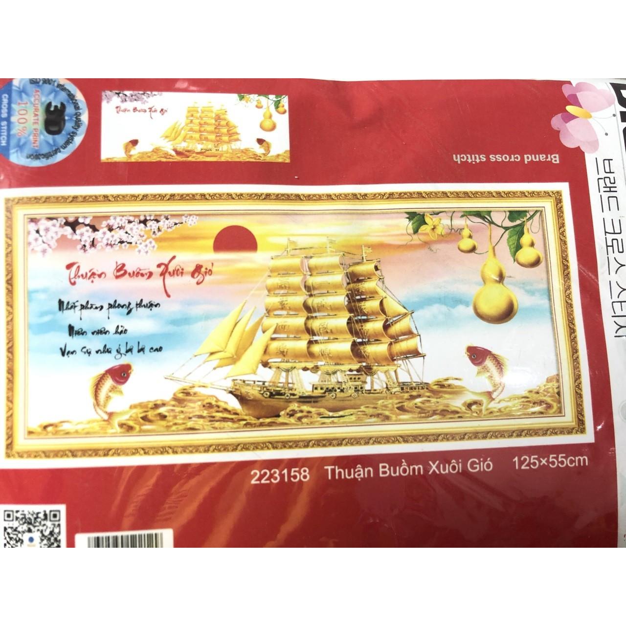 tranh thêu chữ thập Thuận buồm xuôi gió 125x55cm - chưa thêu - Tặng kéo bấm chỉ, xỏ chỉ, kim thêu siêu tốc.