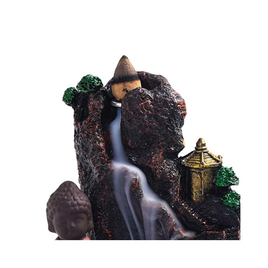Thác khói trầm hương để bàn tặng 3 nụ trầm sư tiểu tọa thiền núi mẫu 46
