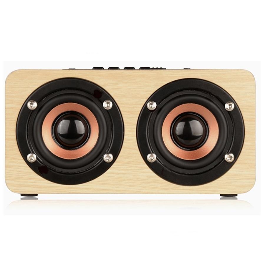 Loa gỗ bluetooth hifi super bass stereo speaker gắn thẻ nhớ g4 màu be