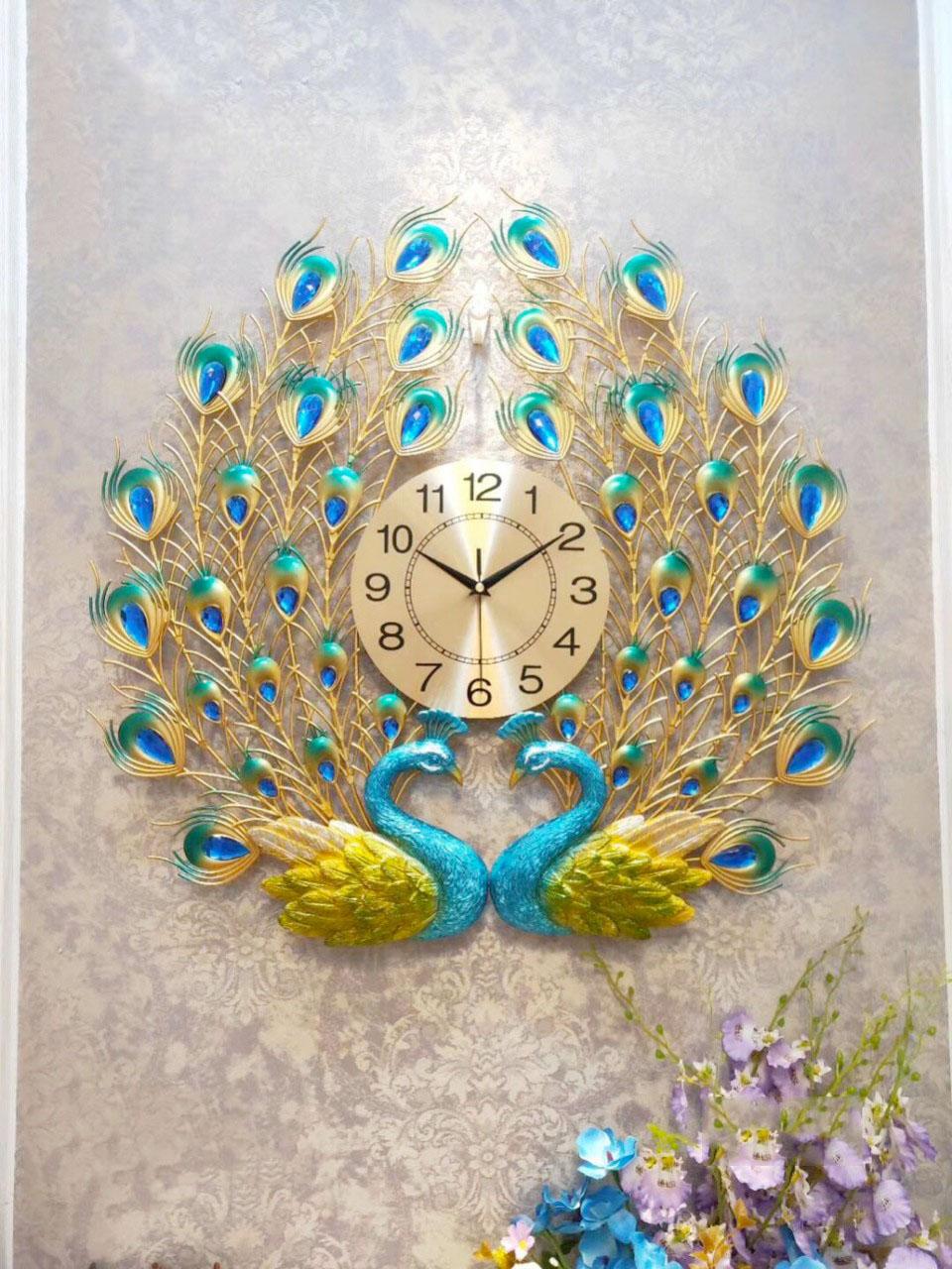 Đồng hồ trang trí chim công CY5 Đồng hồ treo tường Đồng hồ trang trí