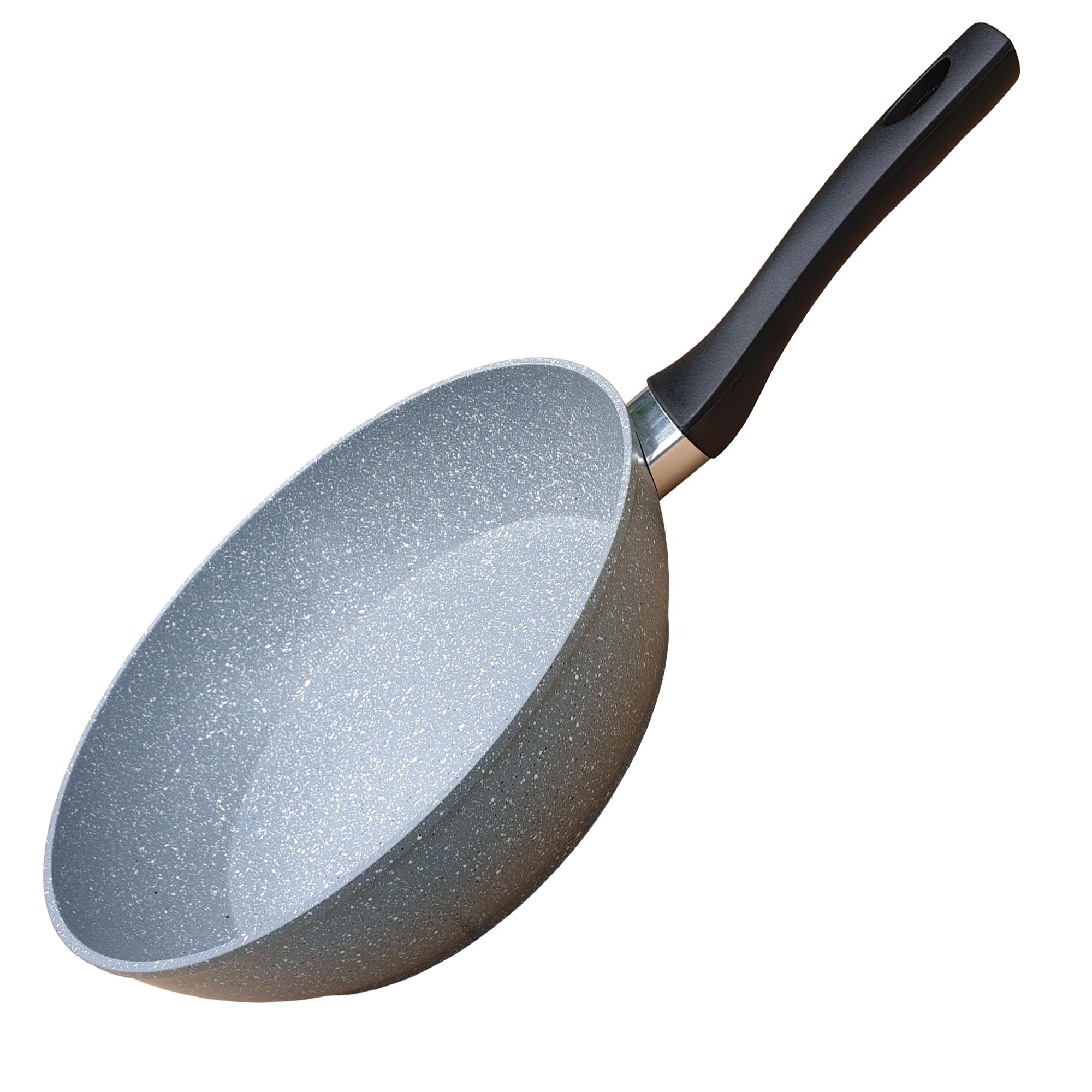 Chảo vân đá chống dính đáy từ sâu lòng GREEN COOK GCP02-24IHB 24 cm tay cầm chịu nhiệt màu đen - Hàng chính hãng