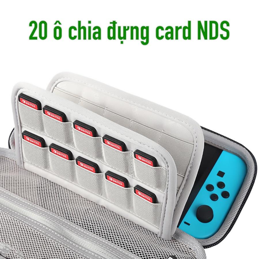 Túi khung cứng chống sốc chuyên dụng đựng máy chơi game Nintendo Switch và phụ kiện dây sạc, thẻ nhớ USB