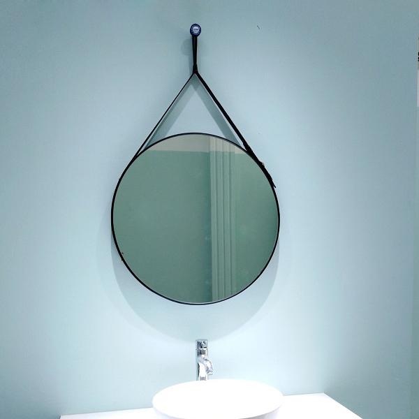 Gương tròn treo phòng tắm dây da