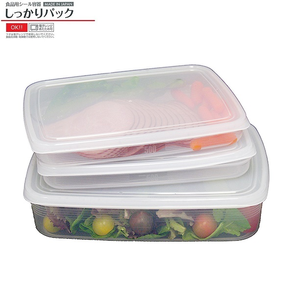 Combo 03 Hộp bảo quản thực phẩm 2600ml hình chữ nhật dẹt - Nội địa Nhật