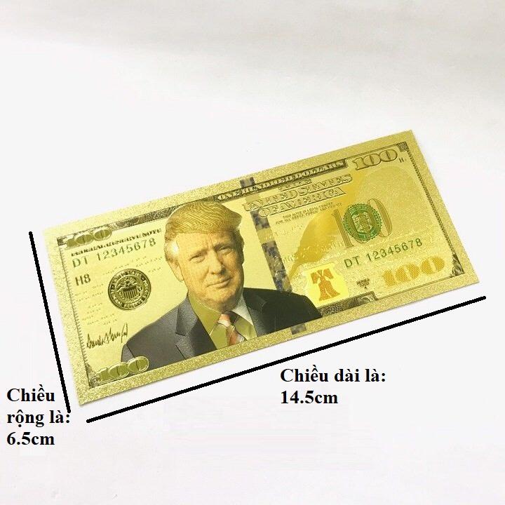 Tờ lưu niệm 100 USD hình Tổng Thống Trump bằng plastic mạ màu vàng, sưu tầm độc lạ, quà tặng bạn bè người thân thú vị - TMT Collection - SP005230