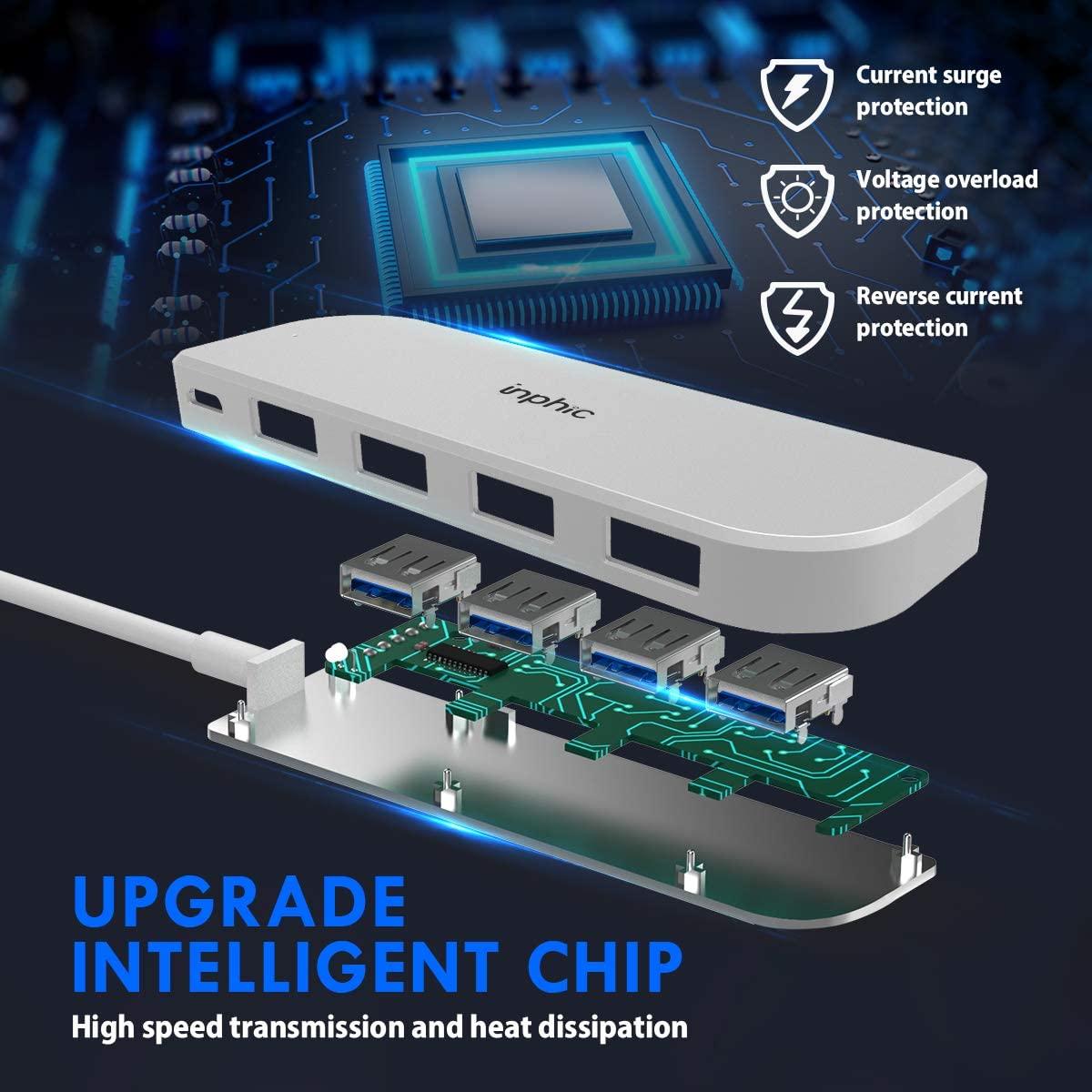 Hub USB 5 in 1 (4 cổng USB 2.0 1 cổng sạc Micro-USB) thương hiệu Inphic- Hàng Chính Hãng