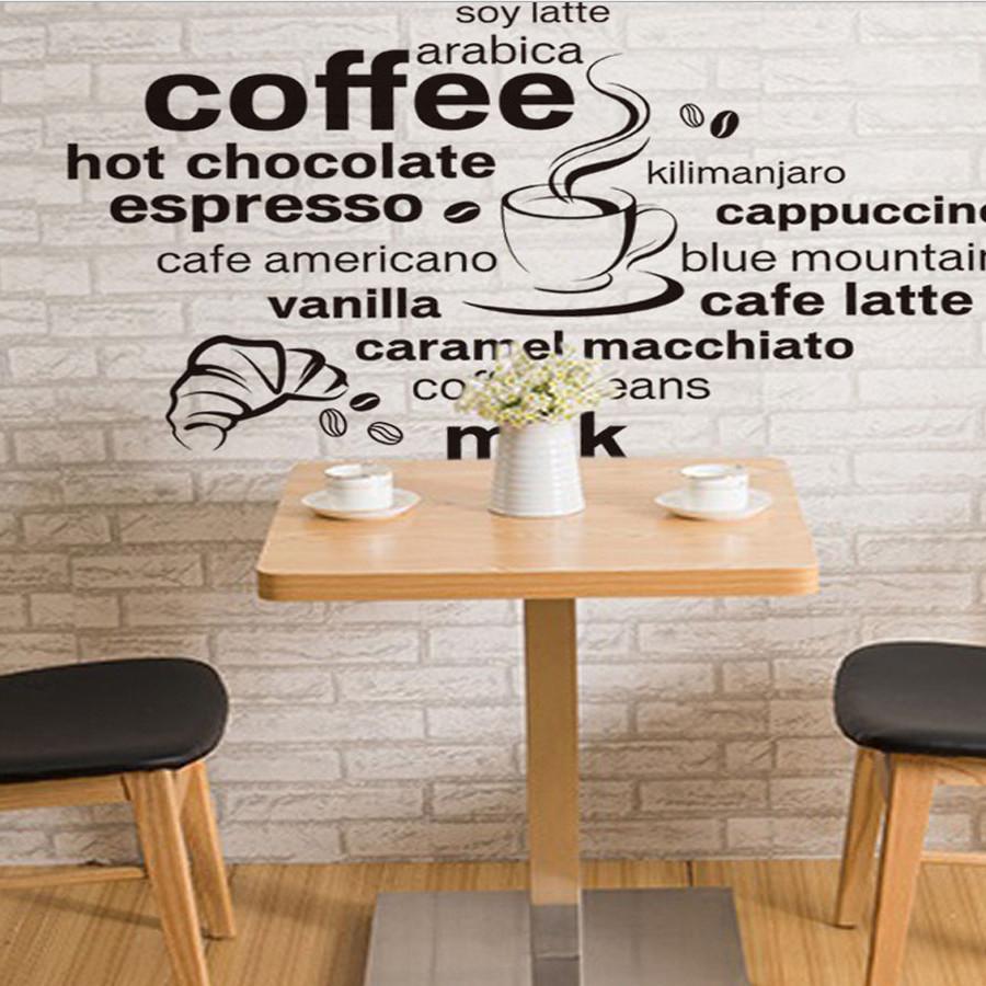 decal dán tường chữ coffee và thực đơn  jm7323