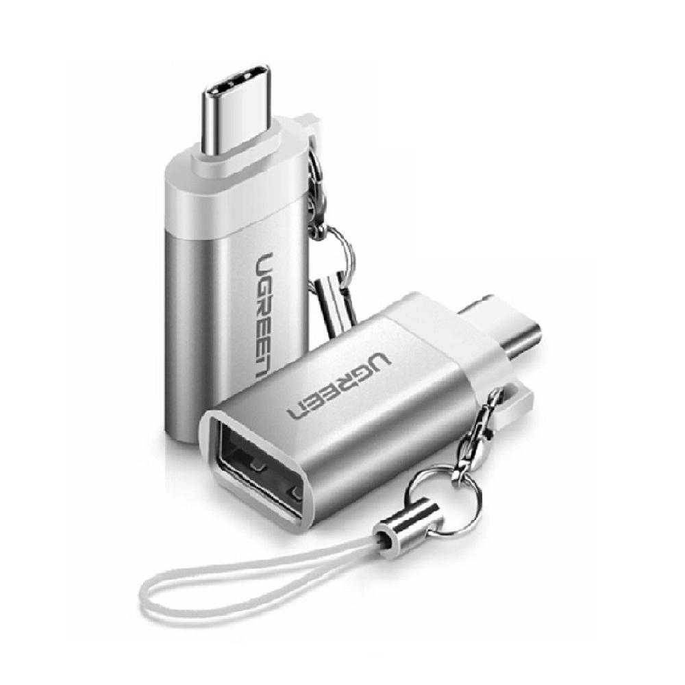 Đầu chuyển đổi USB-C dương Sang USB 3.0 âm vỏ nhôm màu Trắng Bạc Ugreen TC50284US270 Hàng chính hãng.