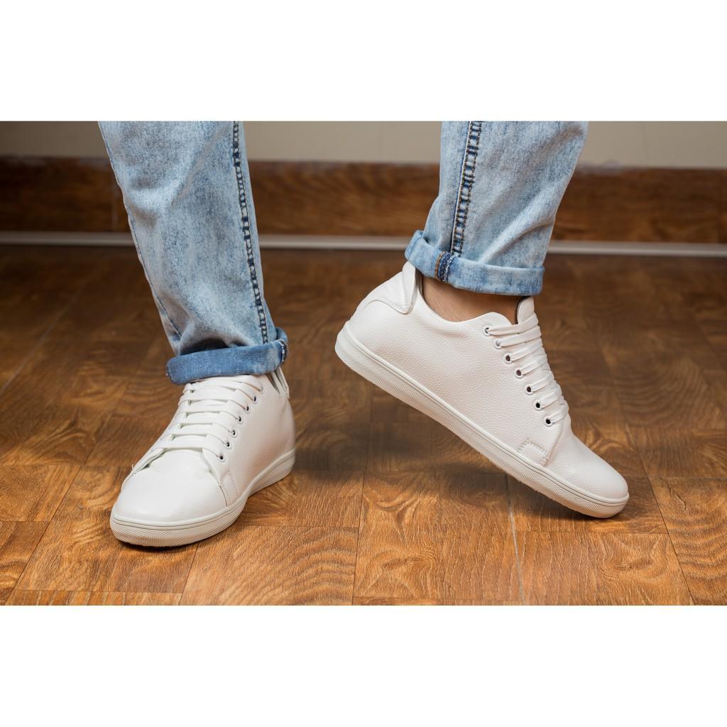 Giày Thể Thao Nam Màu Trắng Tăng Chiều Cao 6Cm Không Hề Lộ Cực Đẹp - Cực Chất - M360-TRANG(HL)- Kèm Vòng Gỗ Huyết Long