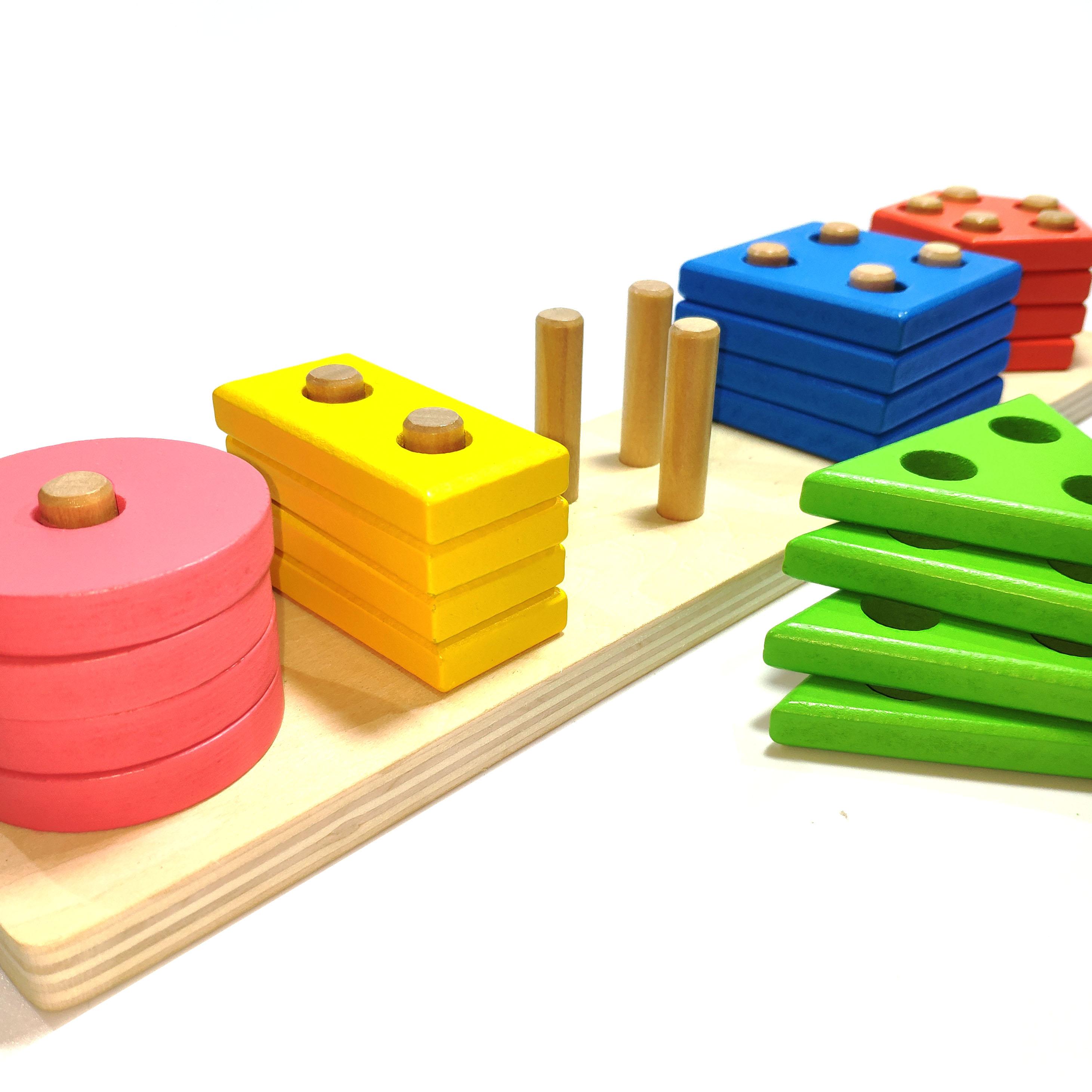 Đồ Chơi Gỗ - Bộ Thả hình khối 3D 4 tầng - đồ chơi thông minh cho bé rèn luyện các kỹ năng cơ bản hiệu quả