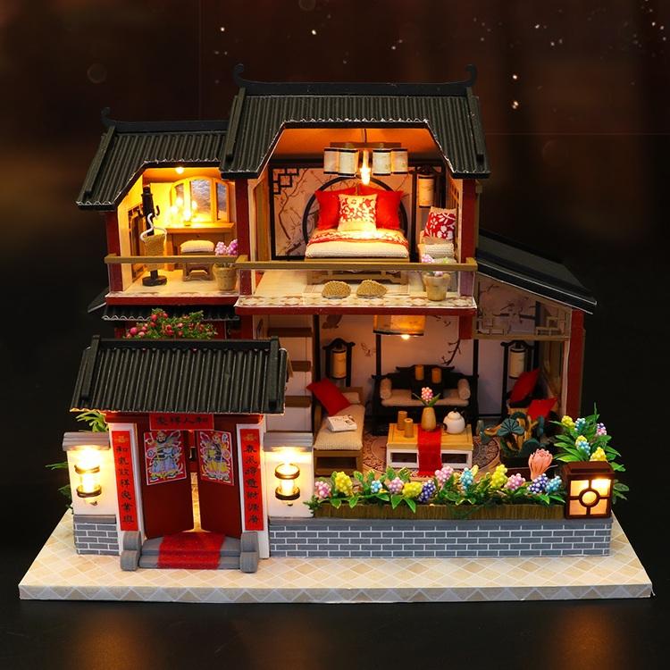 Mô hình nhà DIY Doll House Auspicious Sign Loft Kèm Mica Chống bụi và Bộ công cụ lắp ráp