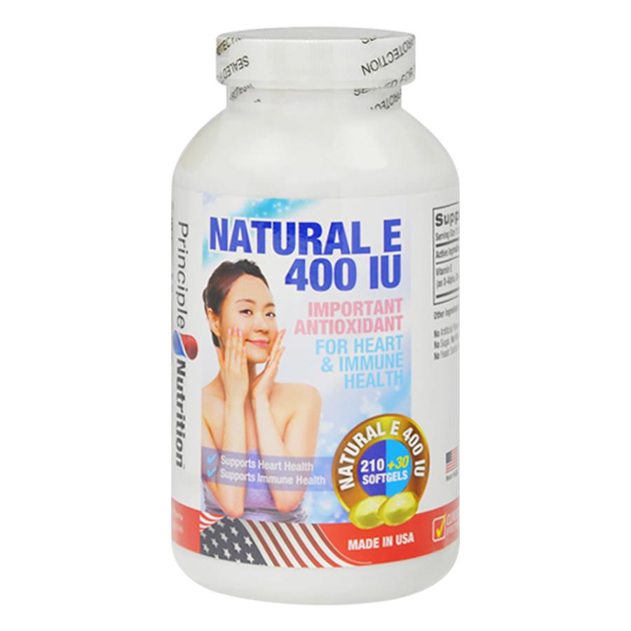 Thực Phẩm Chức Năng Viên Vitamin E Bảo Vệ Và Duy Trì Vẻ Đẹp Tự Nhiên Và Tươi Sáng Của Làn Da Natural E 400Iu Complex Principle Nutrition (Hộp 240 Viên)