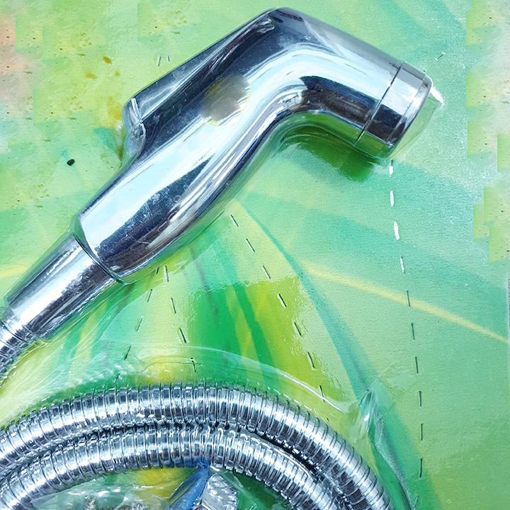 Vòi xịt vệ sinh nhựa ABS cao cấp mạ si inox_  Bộ Vòi xịt vệ sinh inox si nhựa ABS cao cấp