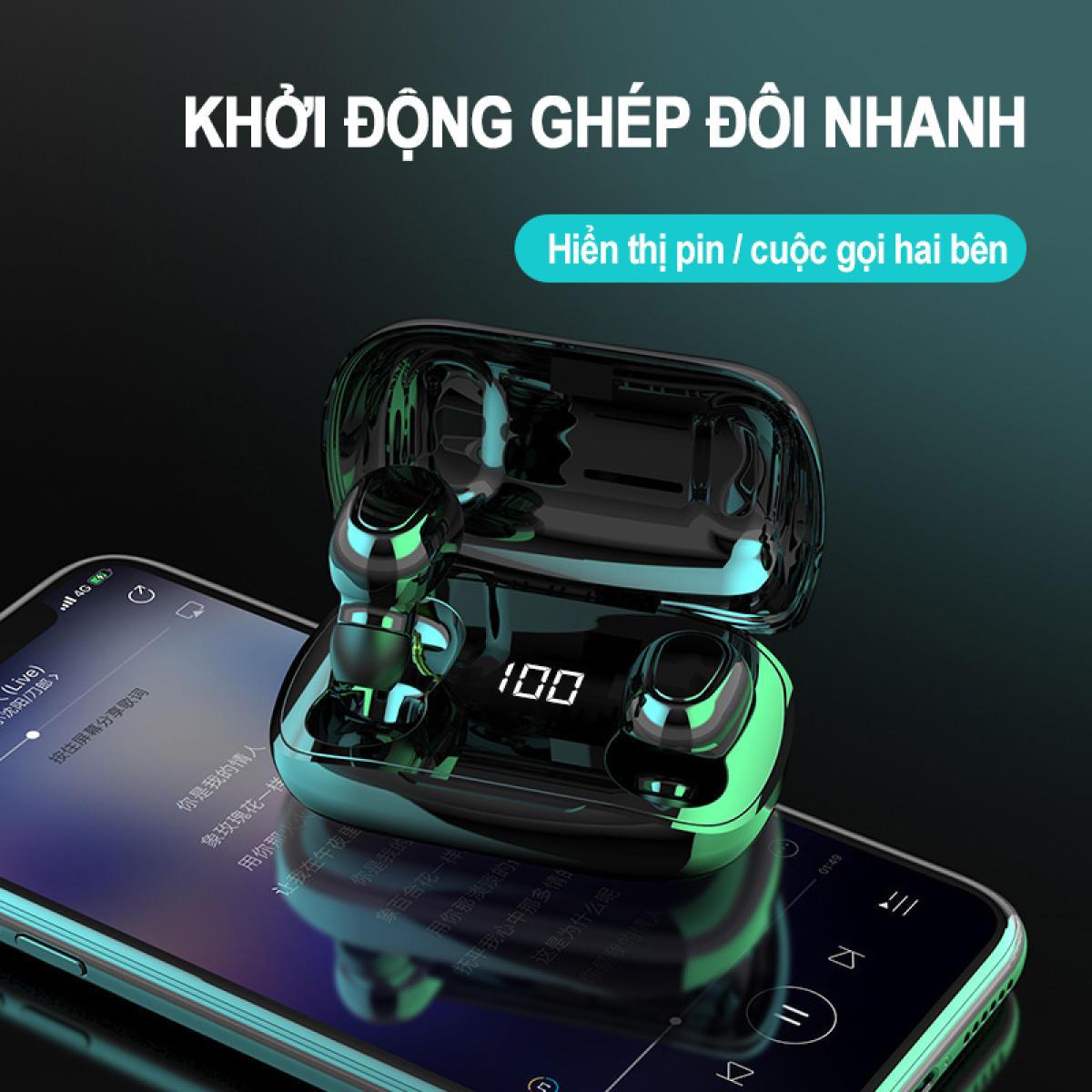 Tai Nghe Bluetooth XT7 TWS, Bluetooth V5.0 - Tai Nghe Kép Bass Âm Thanh phù hợp với các dòng Điện Thoại Huawei,Xiaomi,iPhone,Samsung - Hàng Chính Hãng