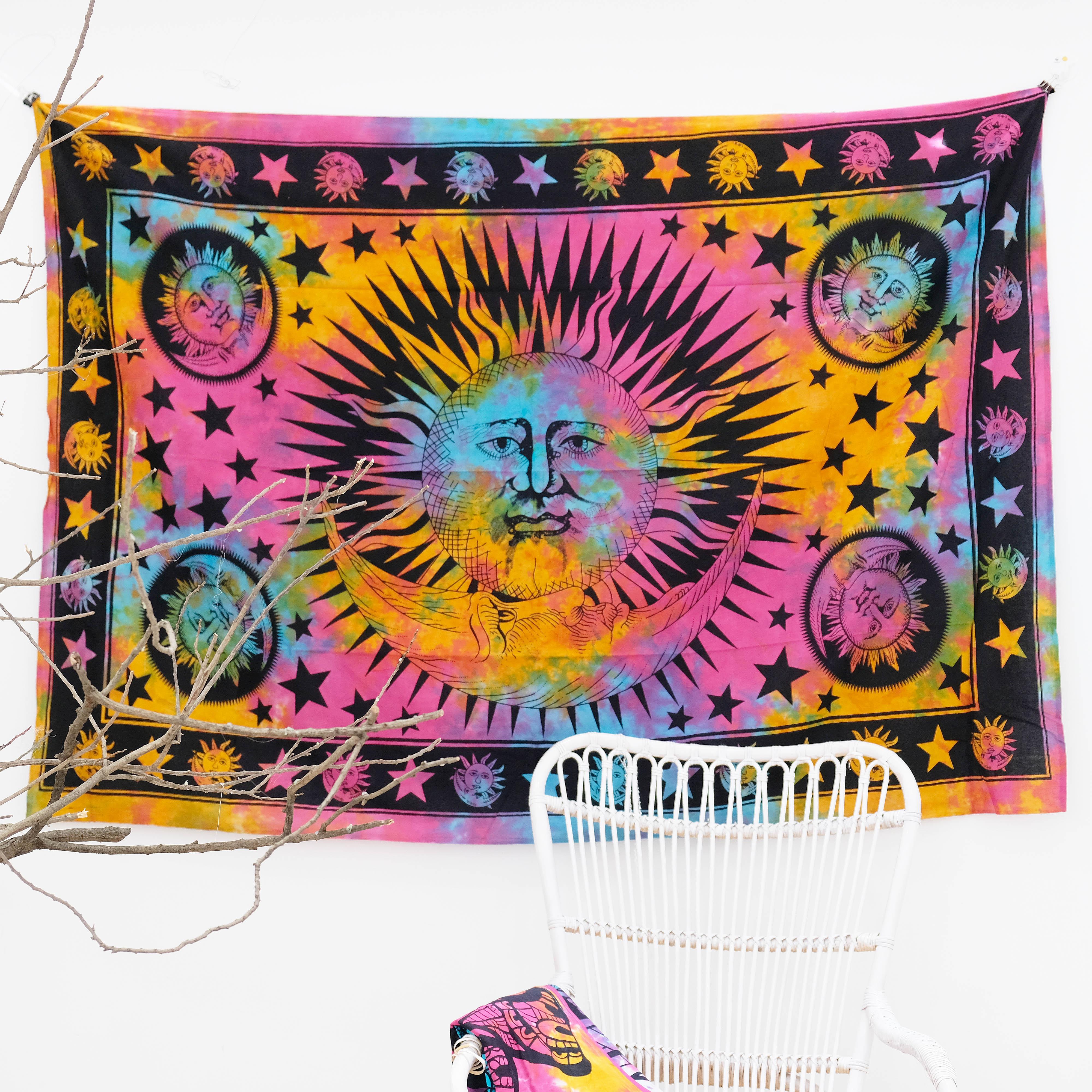 Vải treo tường trang trí hình ông mặt trời tiedye Indian Tapestry Wallhanging 140cm x 220cm