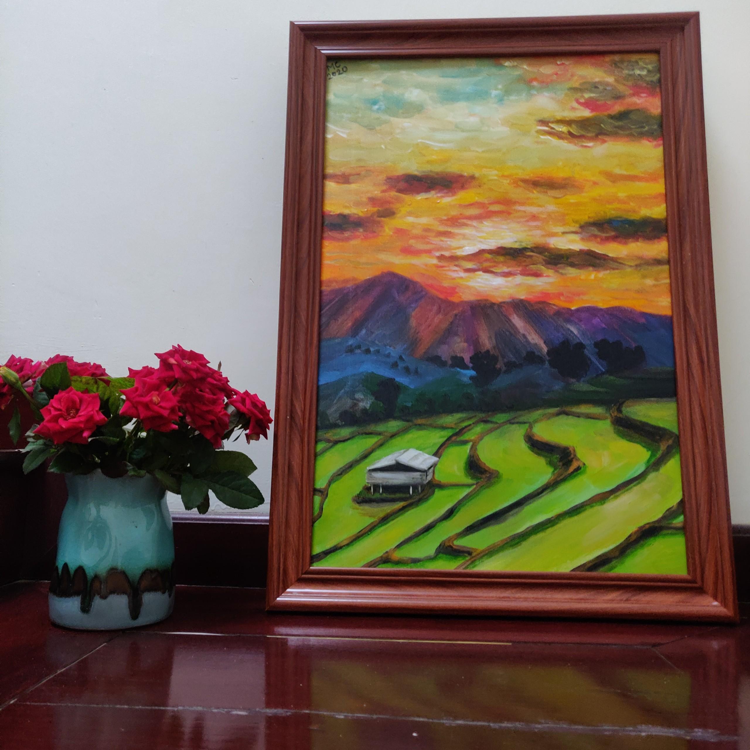 Tranh sơn dầu họa sỹ sáng tác vẽ tay: SỚM VÙNG CAO
