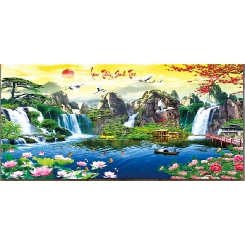 tranh thêu chữ thập Lưu thủy sinh tài - LV3021