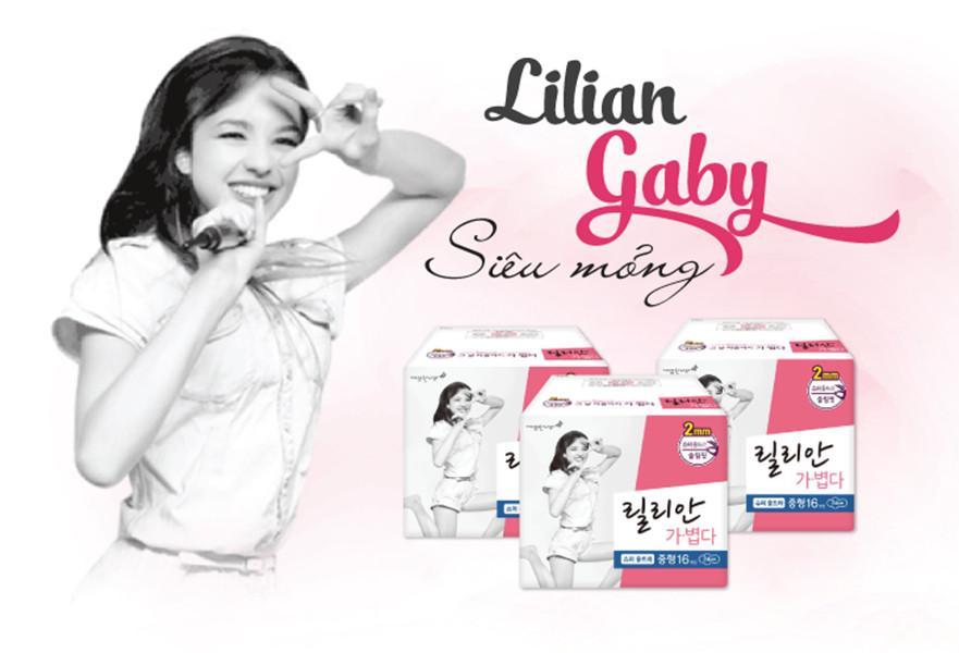 Băng vệ sinh siêu mỏng Lilian Gaby Hàn Quốc (24cm x 16 miếng) + Móc khoá