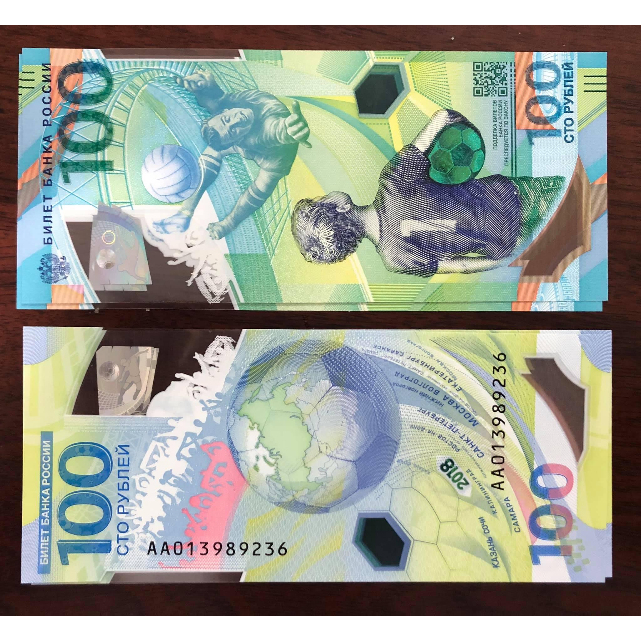 01 Tờ tiền polymer World Cup lưu niệm Nga 2018, giải bóng đá vô địch thế giới