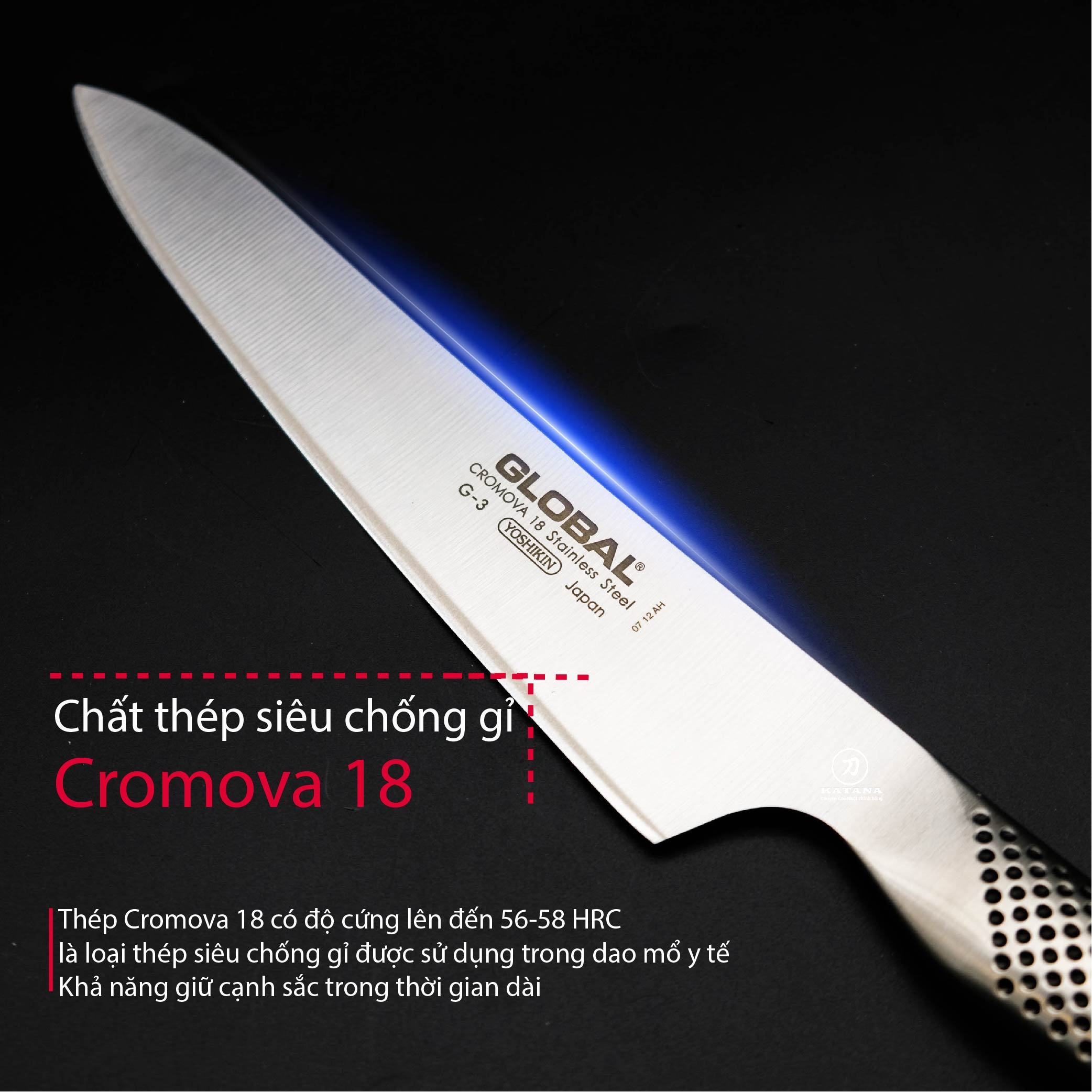 Dao bếp Nhật cao cấp Global G3 Carving Knife - Dao thái lát (210mm)- Dao bếp Nhật chính hãng