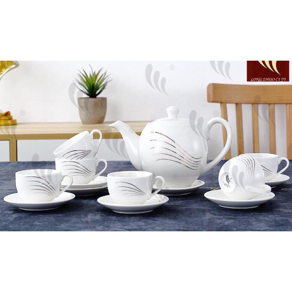 Bộ ấm 6 chén kèm 7 đĩa sứ pha trà trắng họa tiết vân bạc - ANTH20