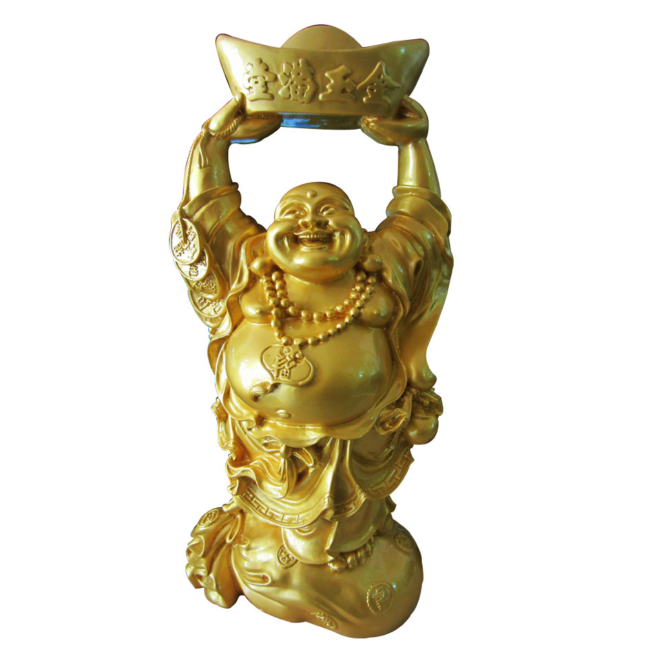 Tượng phật di lặc bằng đá poly nâng vàng DNV48