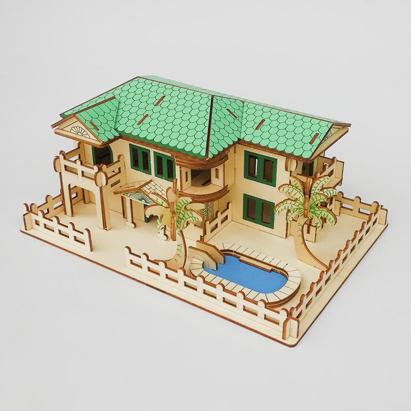 Đồ chơi lắp ráp gỗ 3D Mô hình Nhà Bãi biển Laser