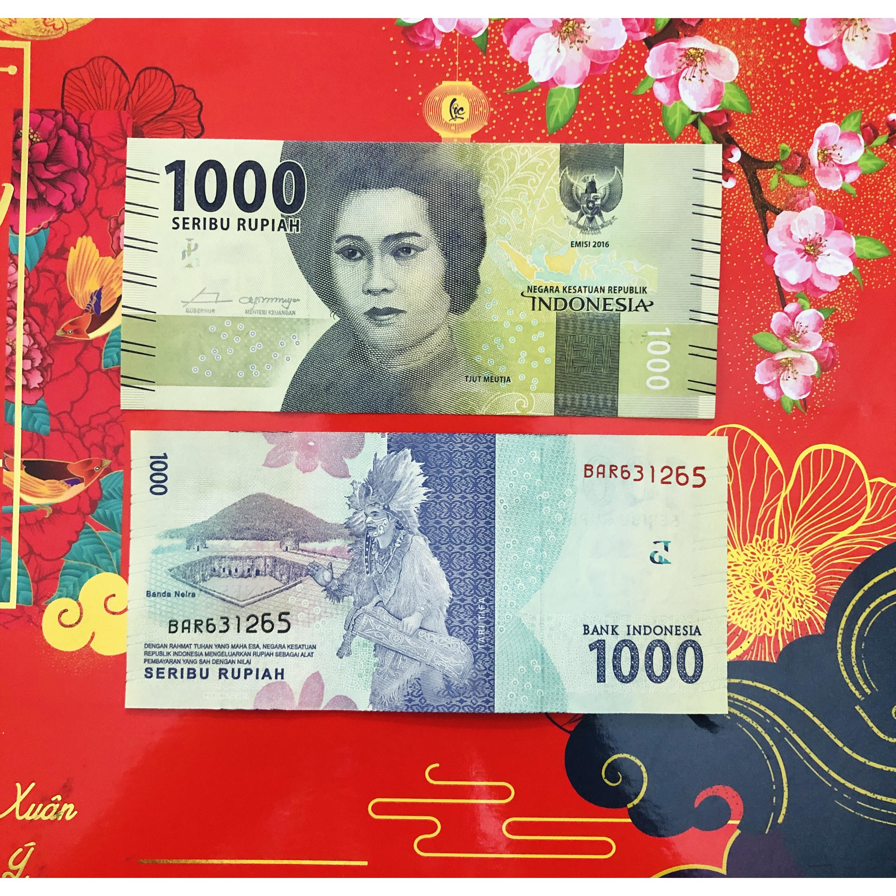 01 Tờ tiền Indonesia 1000 Rupiah xưa sưu tầm - kèm bao lì xì