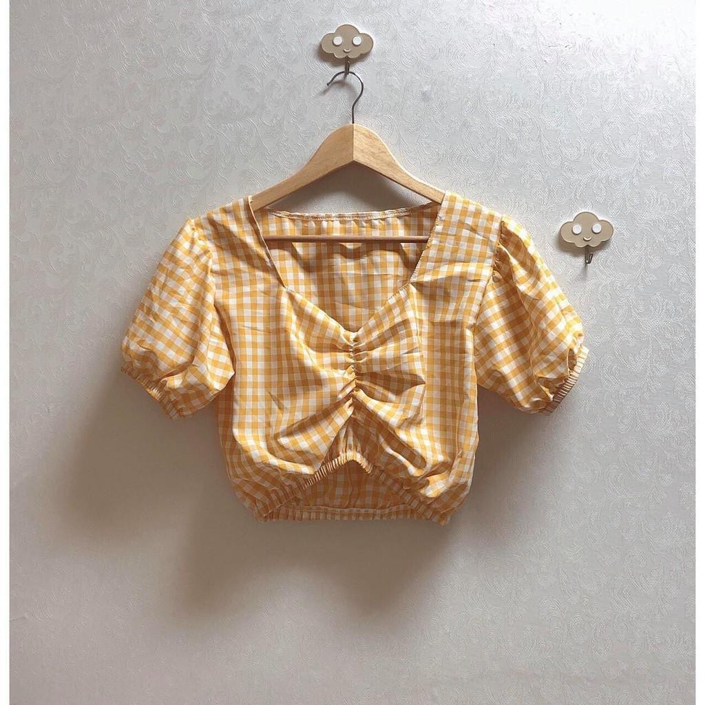 Áo nữ kiểu Croptop rút ngực Caro xinh đẹp, cổ tim, chất vải đẹp, mát, mềm - Nhiều màu - MIN Boutiques
