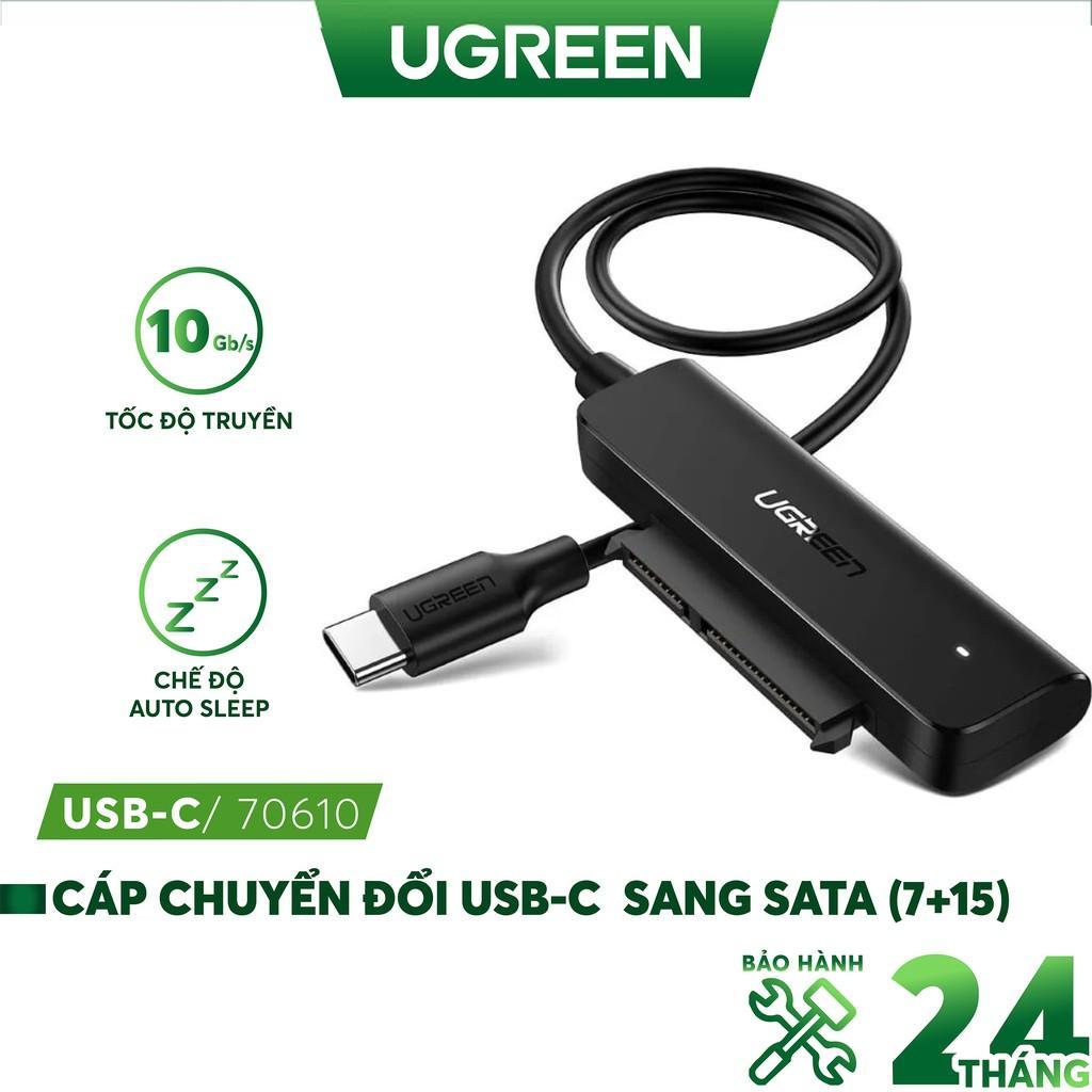 Cáp chuyển đổi hai loại USB 3.0 và USB type C sang Sata (7+15) cho ổ cứng ngoài SSD, HDD 2.5 inch, dài 50cm UGREEN CM321 - Hàng chính hãng