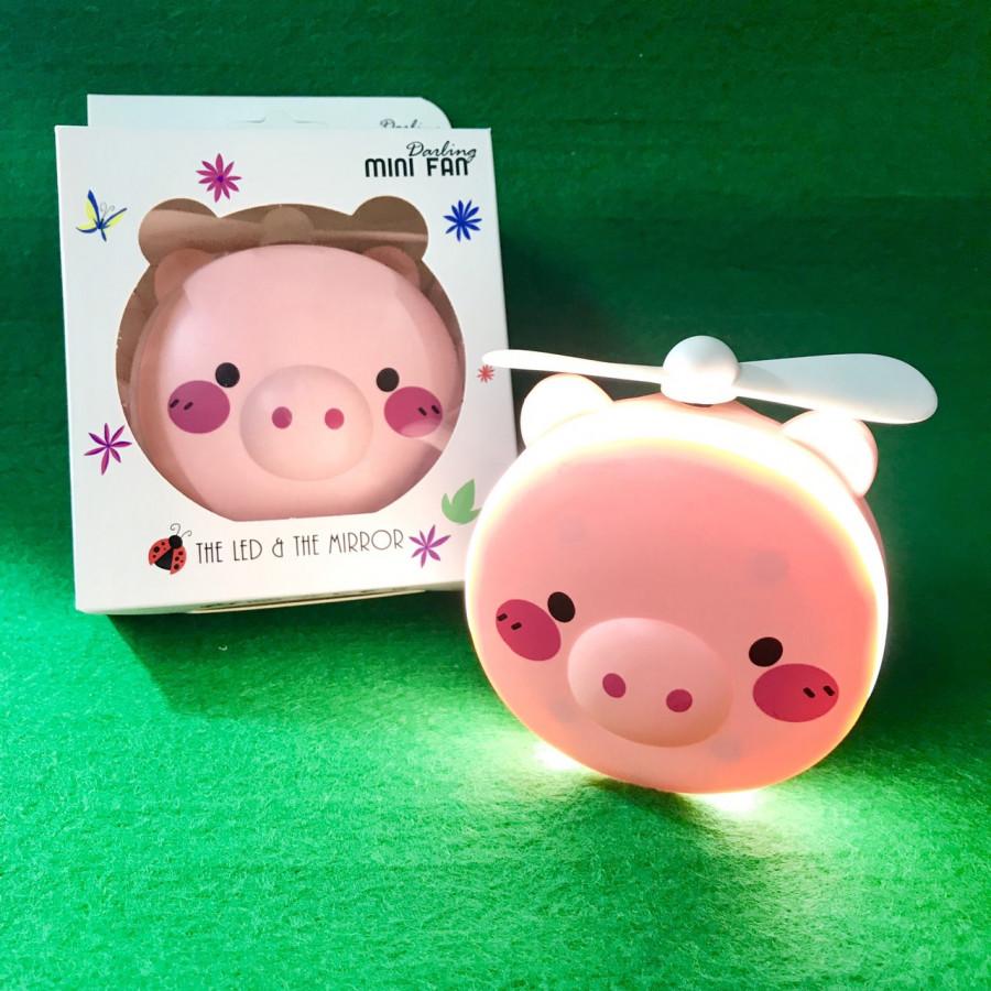 Quạt sạc mini có đèn led và gương soi - Heo Hồng