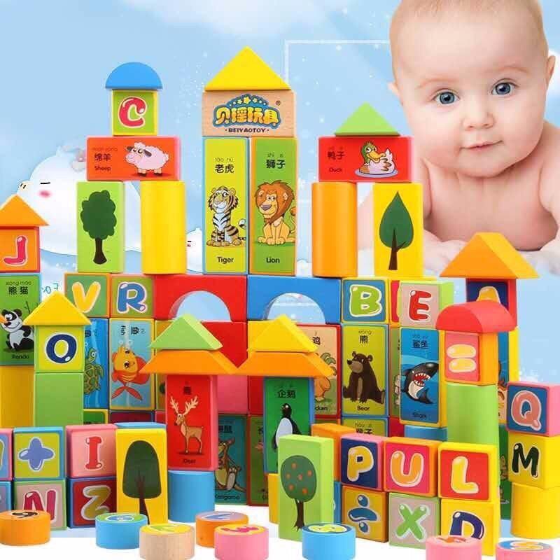 Đồ Chơi Xếp Hình Bằng Gỗ 100 Chi Tiết Chữ Cái, Chữ Số Và Các Con Vật XH01