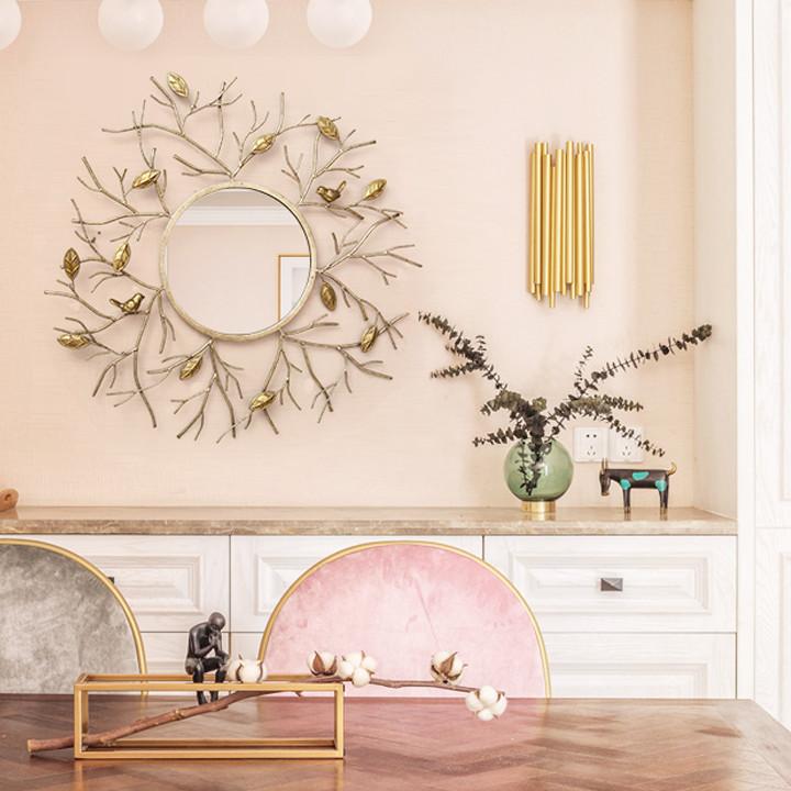Gương trang trí treo tường - họa tiết vàng sang trọng