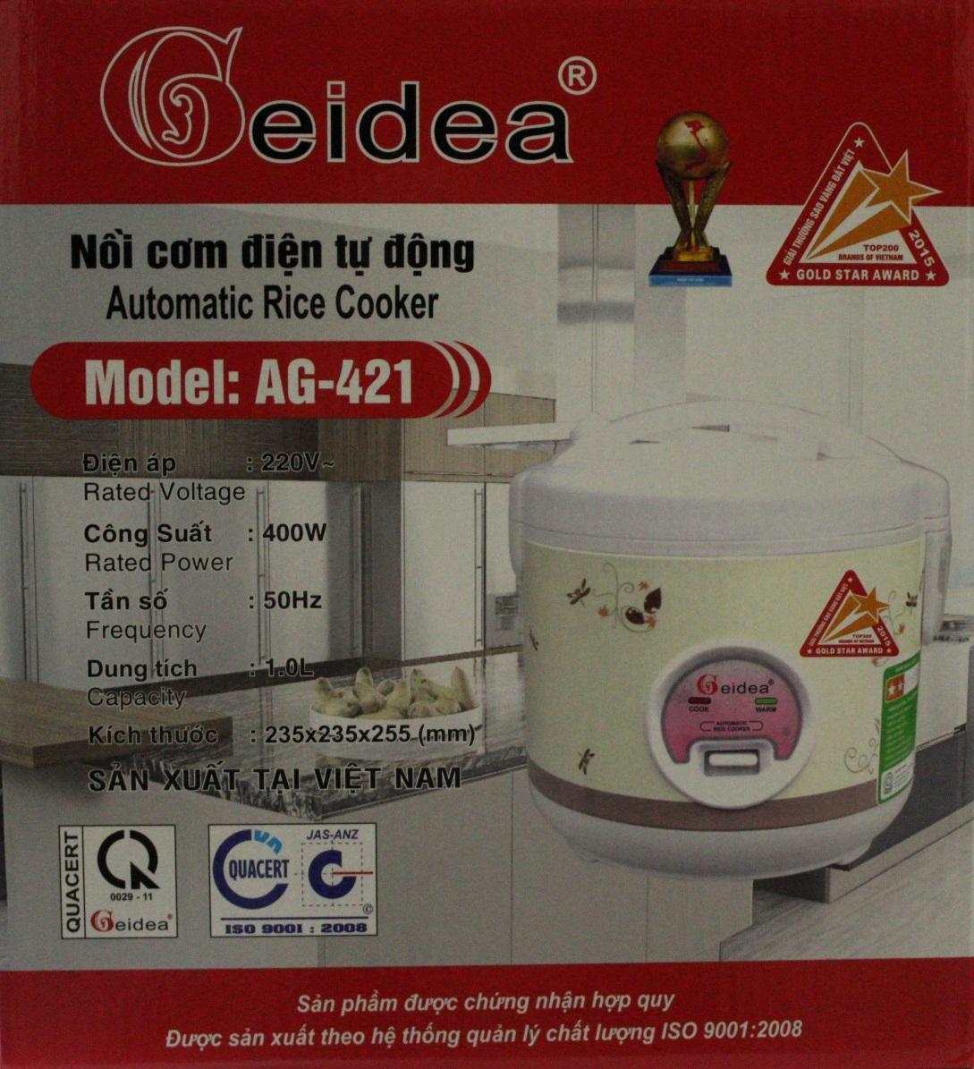 Nồi Cơm Điện Nắp Gài Geidea AG-421 (1 lít) - Màu Ngẫu Nhiên - Chính Hãng