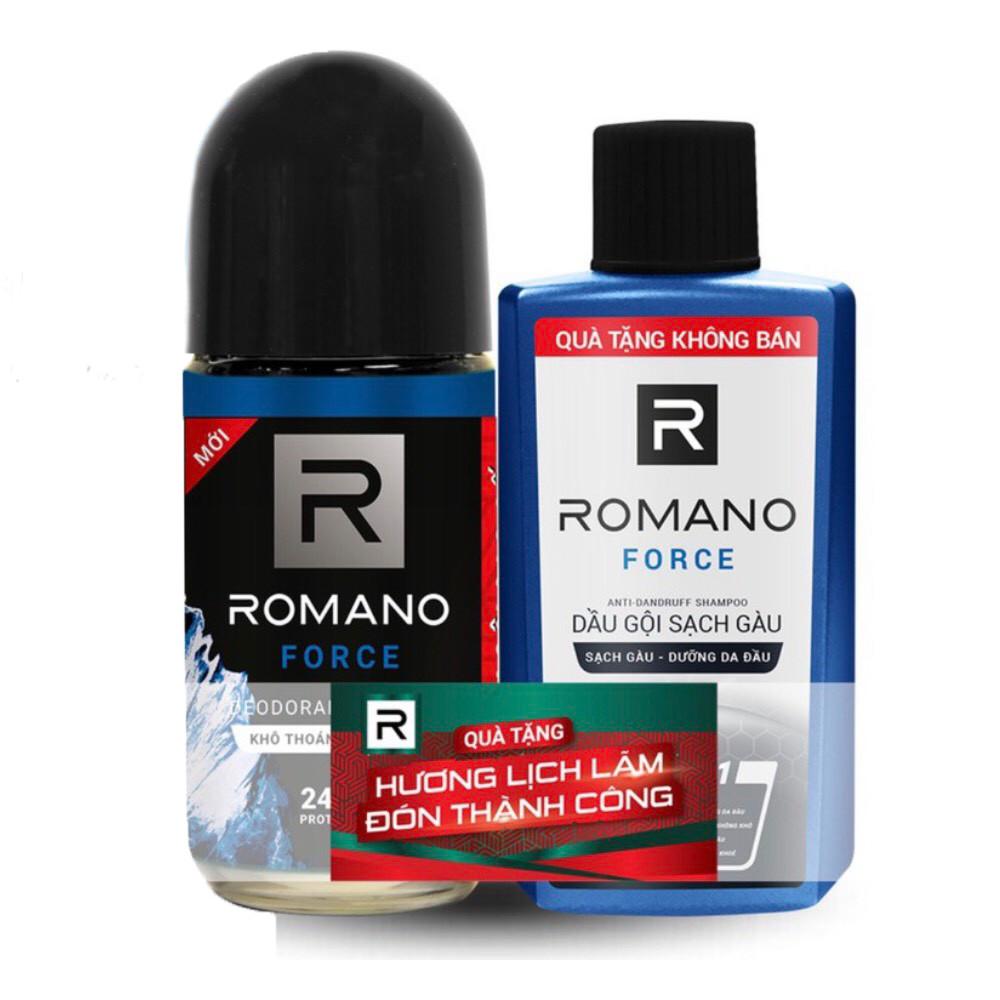 Lăn khử mùi Romano Force năng động phóng thoáng 50ml- Tặng dầu gội sạch gàu Romano Force 60gr