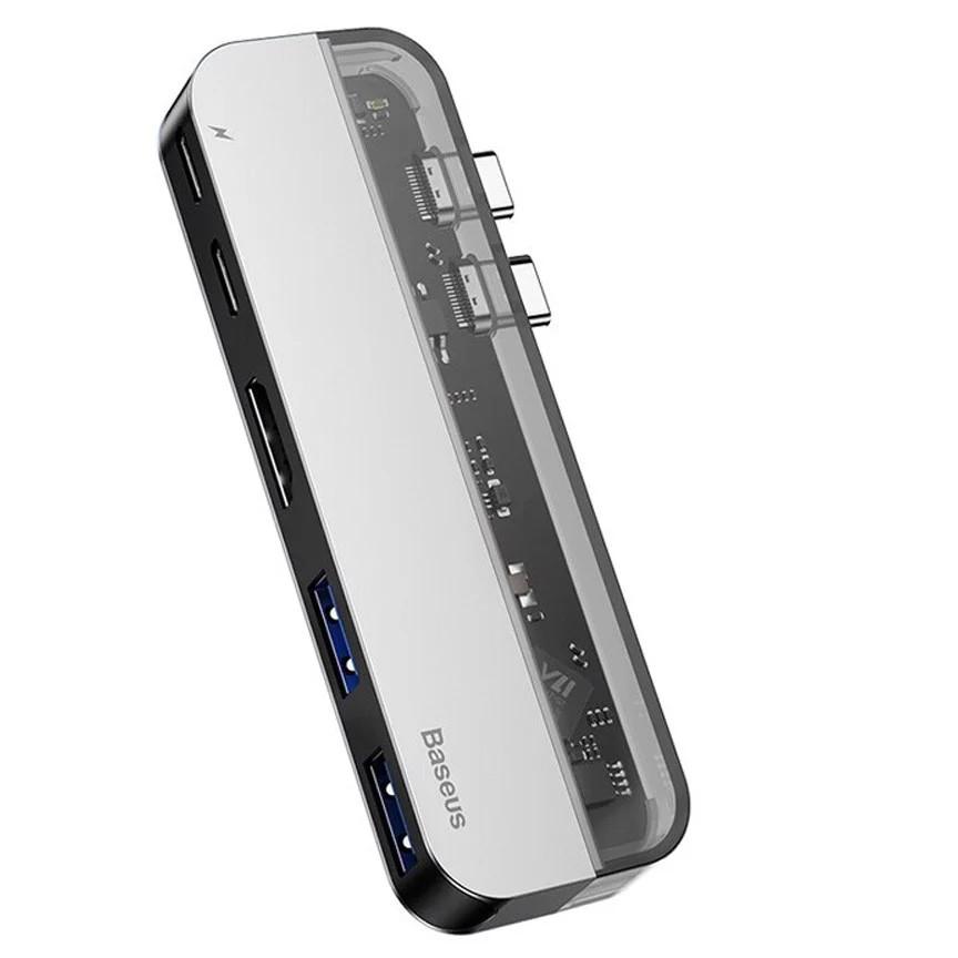 Hub sạc nhanh 5 in 1 chia cổng đa năng 2 cổng PD Type-C dành cho Macbook Pro / Macbook Air hiệu Baseus Tranparents Series thành 2 cổng Type-C PD 3.0, 2 cổng USB 3.0, cổng HDMI chuẩn 4k - Hàng nhập khẩu