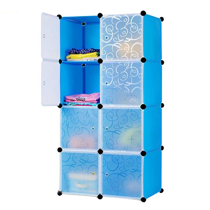 Tủ nhựa ghép 8 ngăn ( 74 x 47 x 148cm ) - Xanh