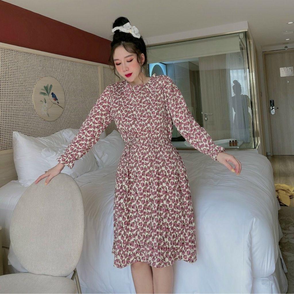 Váy bầu dài tay MB231 chất lụa hoa 2 lớp dập nhăn freesize từ 45 đến 70kg