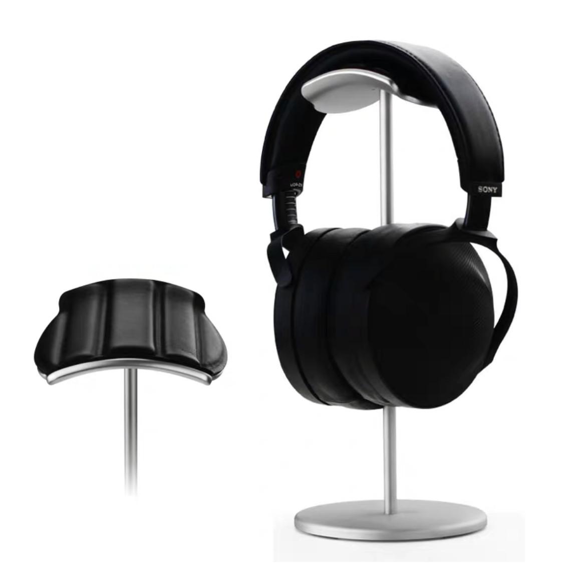 Giá treo tai nghe chụp tai nhôm nguyên khối đầu đỡ lớn bọc da cao cấp