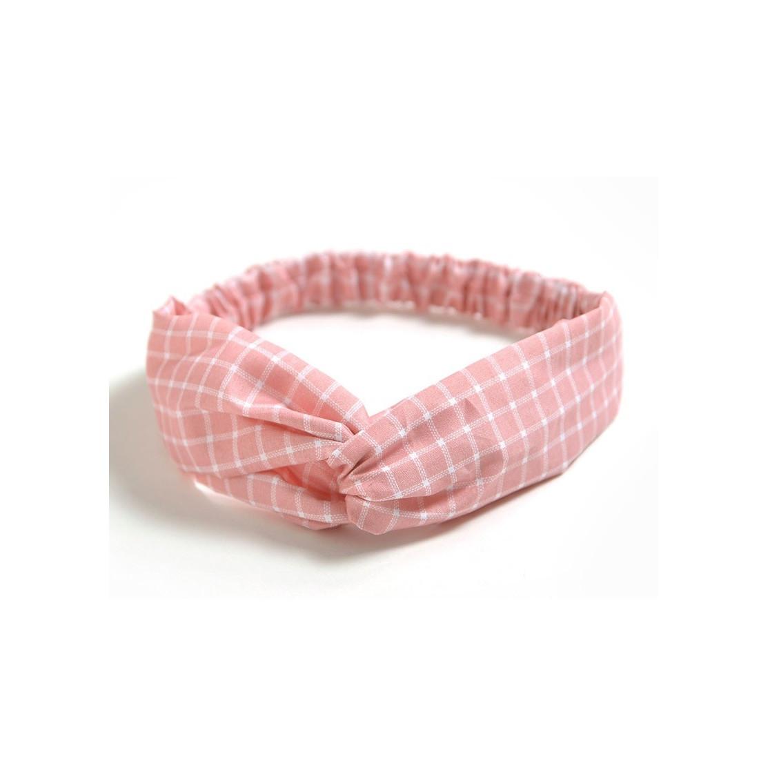 Băng đô nữ caro hồng mẫu mới
