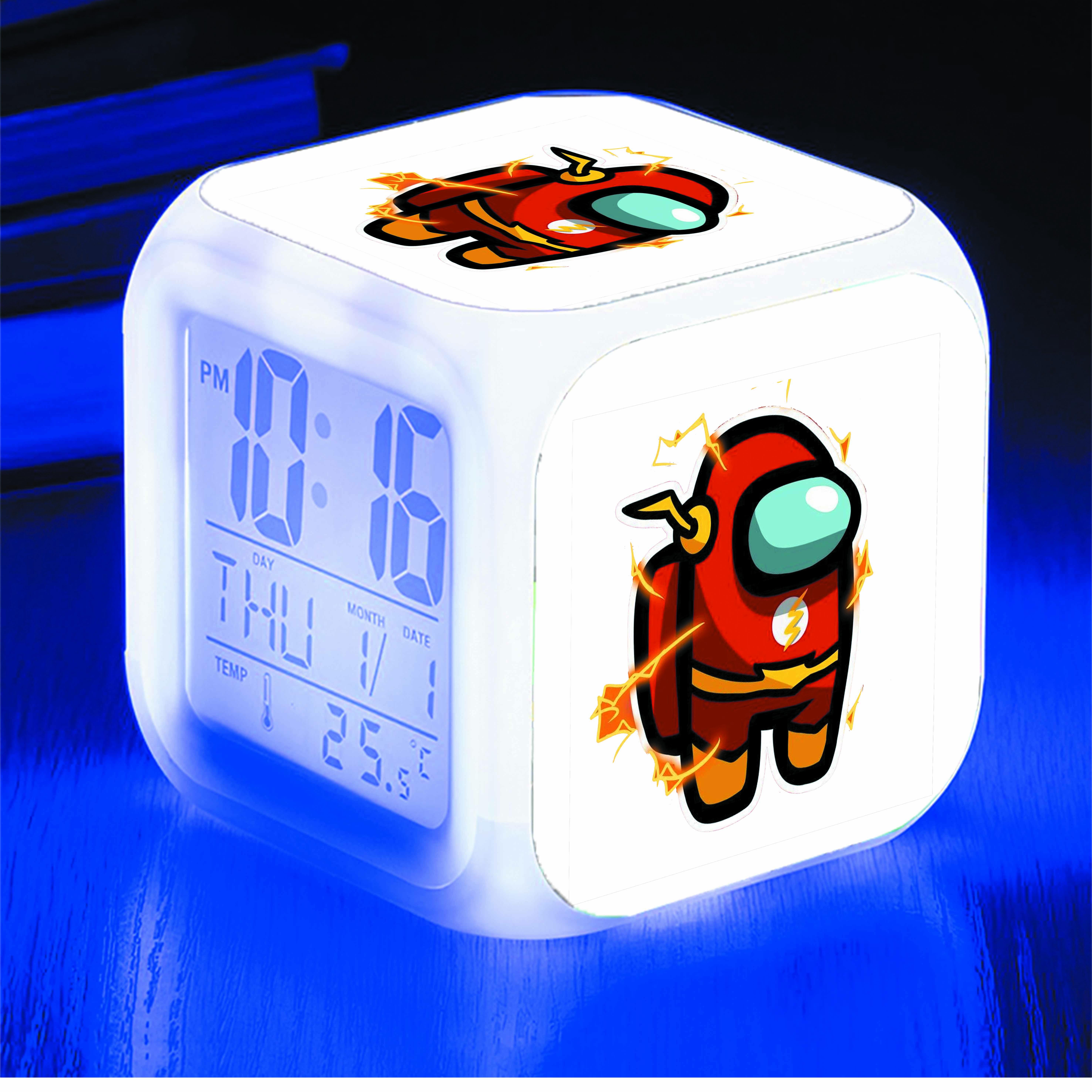 Đồng hồ báo thức để bàn IN HÌNH Among Us The Flash game